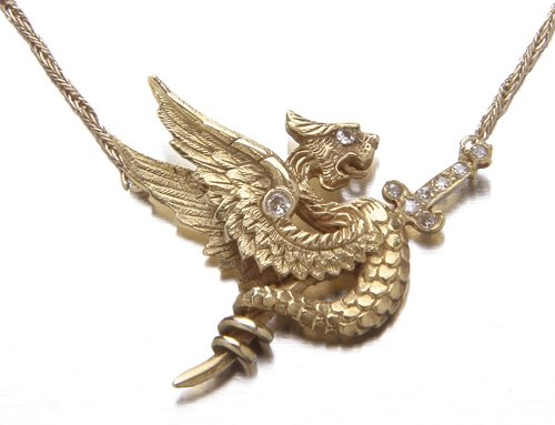 7: 14K yellow gold and diamond lavalier,winged snake