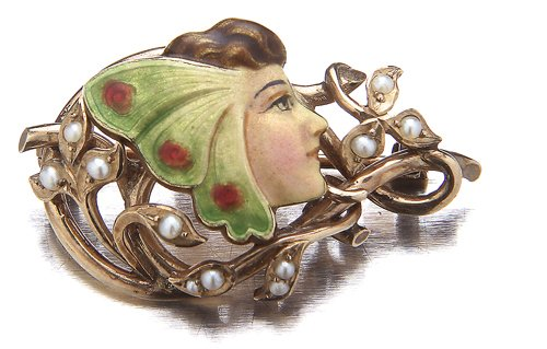 11: Art Nouveau butterfly woman pin by Henry Blank, New