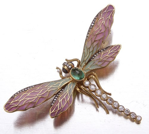 20: Plique a jour dragonfly brooch, 18K yellow gold, di