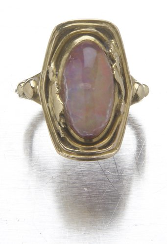 25: Arts & Crafts 14K and jelly opal ring marked G.H.,(