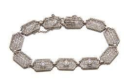 59 Deco filigree link bracelet diamonds 14K white