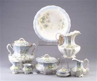 Eight-piece Victorian china dressing table
