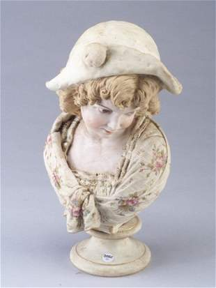 Victorian bisque porcelain bust of a young