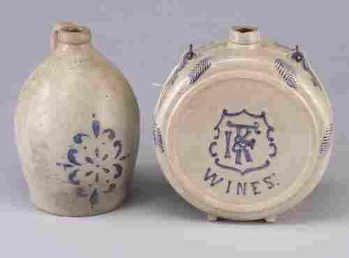 Two stoneware jugs: F.H. Cowden/Harrisburg
