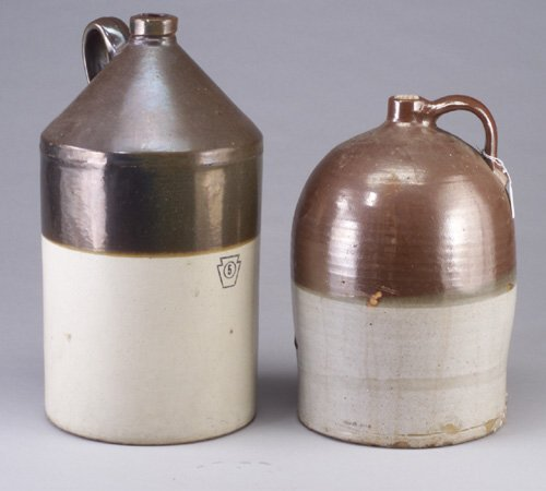4: Two large stoneware two-tone jugs, one mar