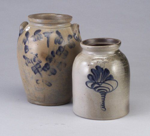Two stoneware crocks - tall urn with ear h