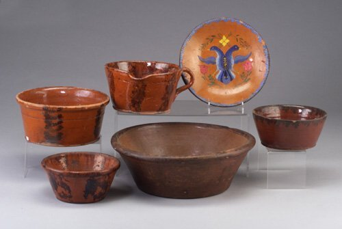 6: Six pieces of redware including basin, thr