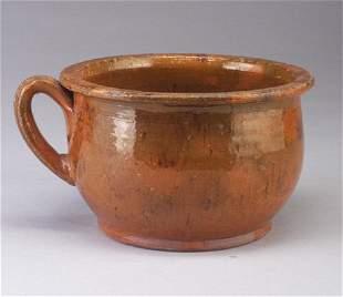 Redware chamber pot.