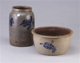 Two stoneware crocks - basin and cylindric