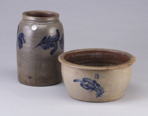 8: Two stoneware crocks - basin and cylindric