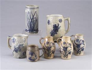 Seven Erfurt (German) stoneware pieces inc