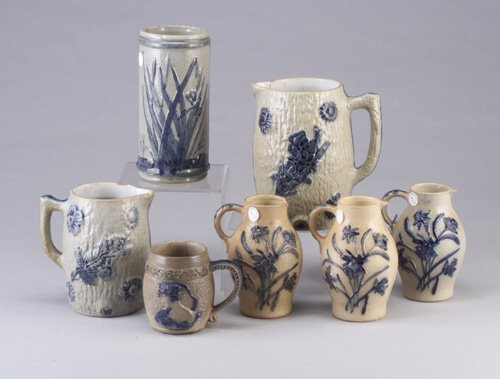 9: Seven Erfurt (German) stoneware pieces inc