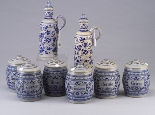 11: Set of six German stoneware canisters and