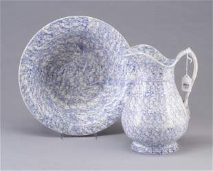 Two Spongeware pieces: bowl and pitcher,