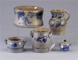 Five Salt glazed stoneware including a sp