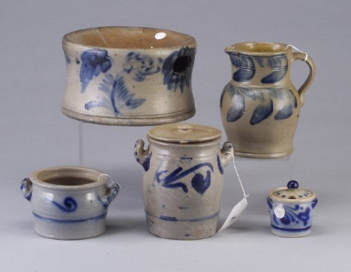 14: Five Salt glazed stoneware including a sp