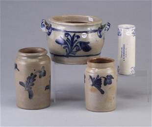 Four salt glazed stoneware including a ro