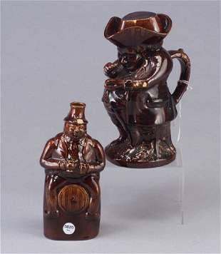 Rockingham snuff-taker Toby and flask, a