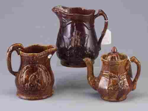 Three jugs - Rockingham Centennial, eagle