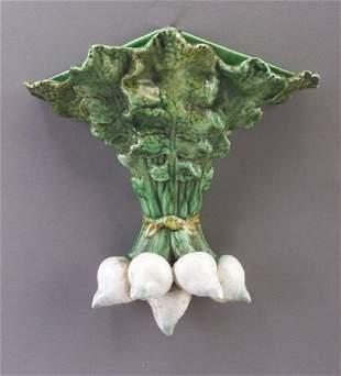 Portuguese Majolica wallpocket shaped as