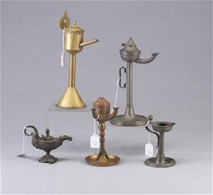 Five pewter and brass whale-oil lamps.