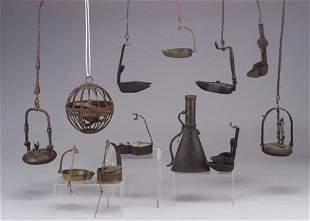 Five betty lamps including early 19th c.