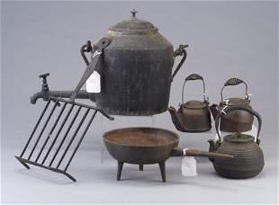 Six cast iron hearth accessories: water k