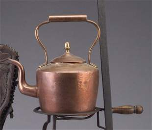 Copper English tea kettle with acorn fini