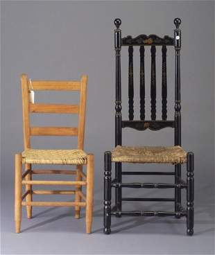 Two rush seat side chairs, one ladder-bac
