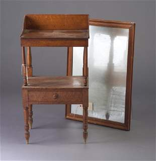 Bird's-eye maple wash stand and wall mirr