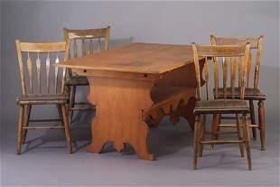 Six maple arrow-back side chairs, a set (