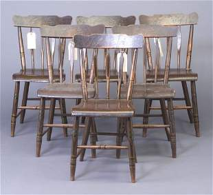 Six arrow-back side chairs, paiting with