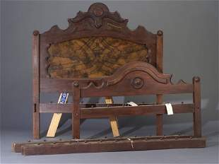 Victorian walnut rope bed with burled woo