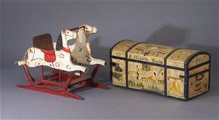 Painted hope chest and rocking horse. Che
