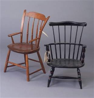 """Two Windsor-type child chairs. 23"""" x 15 3"""