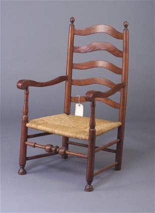 Ladderback rush-seat armchair with turned