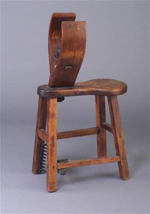 Pine harness-maker's bench with hand hewn