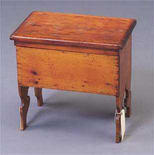 Pine shoe box with left lid and cast iro