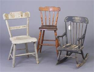 Three spindle-back chairs: child's Winds
