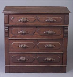 Victorian stained chest of drawers with c