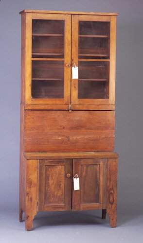 Stained pine drop-front desk, interior co