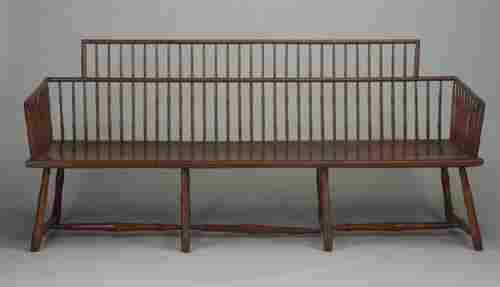 171: 19th c. maple bamboo-spindle settee with