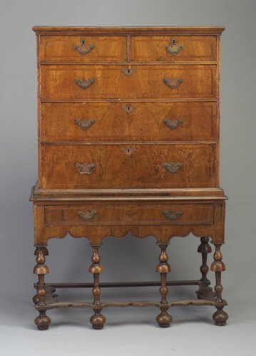 175: William and Mary-style walnut chest on s