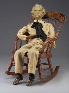 185: Rare Mark Twain marionette, 19th c, with