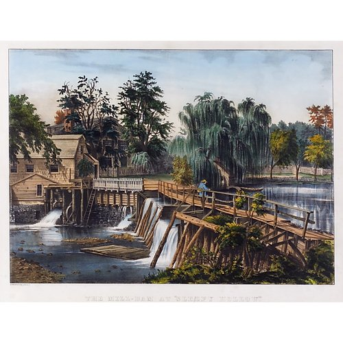 """2: Currier & Ives """" The Mill-Dam at Sleepy Hollow,"""" han"""