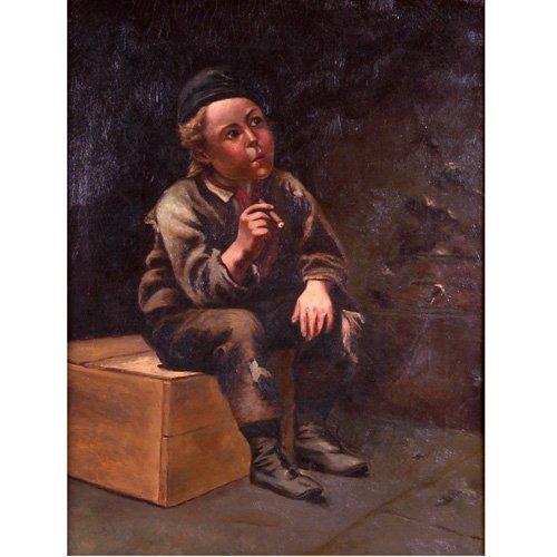 17: American School (late 19th Century) Boy Smoking a C