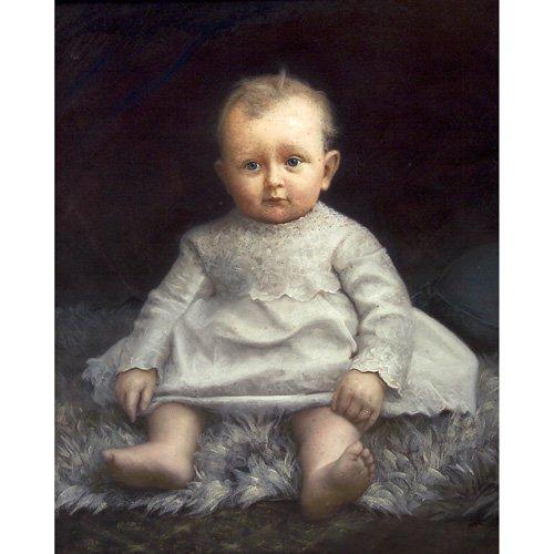 18: American School (19th Century) Child Portrait, past