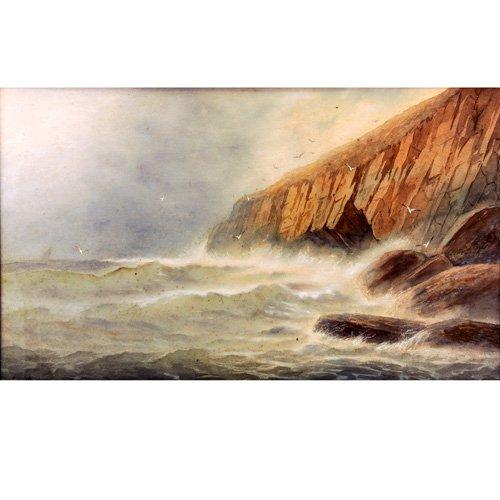 "19: George Essig Seascape, gouache on board, 17"" x 24"","