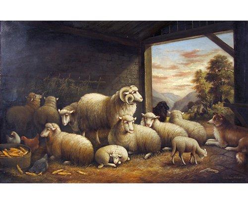 24: Susan C. Waters Barnyard Gathering, oil on canvas,