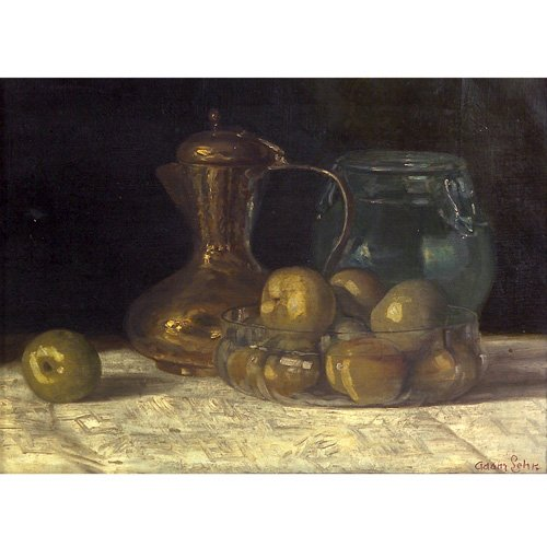 "25: Adam Lehr Still Life, oil on canvas, 16"" x 20"", sig"